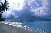 View from Ofu Beach on Ofu Island, with Olosega offshore. American Samoa