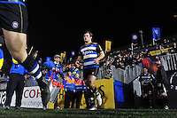 Max Clark and the rest of the Bath Rugby team run out onto the field. Aviva Premiership match, between Bath Rugby and Gloucester Rugby on February 5, 2016 at the Recreation Ground in Bath, England. Photo by: Patrick Khachfe / Onside Images