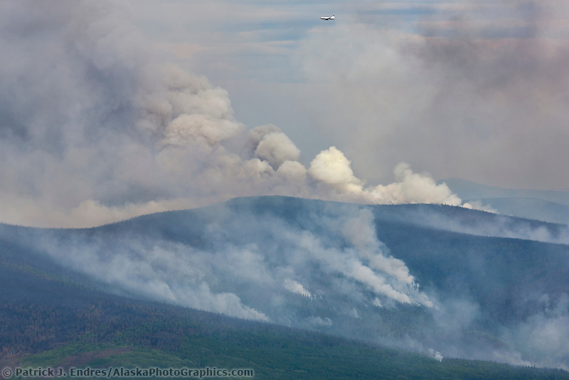 The Hastings wildland forest fire surges under brisk winds and dry conditions. Located near Murphy Dome north of Fairbanks, Alaska.