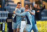 Dundee v St Johnstone.....27.02.13      SPL.Steven MacLean celebrates his goal with Rowan Vine and Liam Craig.Picture by Graeme Hart..Copyright Perthshire Picture Agency.Tel: 01738 623350  Mobile: 07990 594431