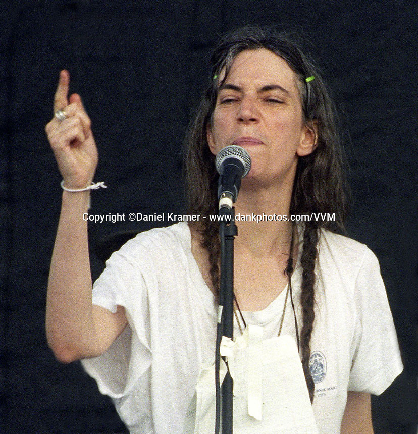 Patti Smith gives a spoken-word performance at Lollapalooza in New York in 1995.