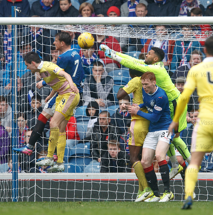 Wes Foderingham, David Bates and Joe Garner combine to clear the danger