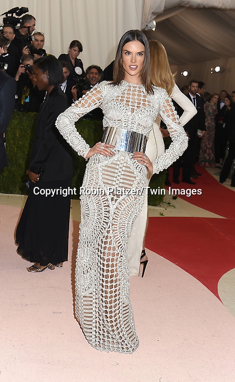 Alessandra Ambrosia attends the Metropolitan Museum of Art Costume Institute Benefit Gala on May 2, 2016 in New York, New York, USA. The show is Manus x Machina: Fashion in an Age of Technology. <br /> <br /> photo by Robin Platzer/Twin Images<br />  <br /> phone number 212-935-0770