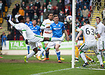 St Johnstone v Celtic...15.05.15   SPFL<br /> Gary Miller's header is cleared off the line by Efe Ambrose<br /> Picture by Graeme Hart.<br /> Copyright Perthshire Picture Agency<br /> Tel: 01738 623350  Mobile: 07990 594431
