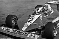 LONG BEACH, CA - APRIL 2: Gilles Villeneuve drives the Ferrari 312T3 034/Ferrari 015 during practice for the United States Grand Prix West on April 2, 1978, at the Long Beach street circuit in Long Beach, California.
