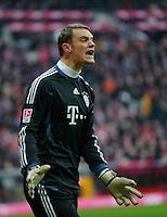 Fussball Bundesliga Saison 2011/2012 24. Spieltag FC Bayern Muenchen - FC Schalke 04 Manuel NEUER (FCB) lautstark.