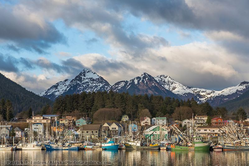 Commercial fishing boats in the Sitka harbor, Sitka, Alaska.