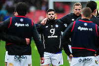 Rob Webber of Bath Rugby looks on during the pre-match warm-up. Aviva Premiership match, between Gloucester Rugby and Bath Rugby on March 26, 2016 at Kingsholm Stadium in Gloucester, England. Photo by: Patrick Khachfe / Onside Images
