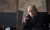 Churchill (2017)  <br /> They discuss Overlord &amp; smoke, Eisenhower &amp; Brooke tell Churchill (Brian Cox) his plan is no good, he's hurt<br /> *Filmstill - Editorial Use Only*<br /> CAP/KFS<br /> Image supplied by Capital Pictures