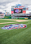 7 April 2016: The Opening Day Turf Logo has been freshly painted on the field ready for the Washington Nationals Home Opening Game against the Miami Marlins at Nationals Park in Washington, DC. The Marlins defeated the Nationals 6-4 in their first meeting of the 2016 MLB season. Mandatory Credit: Ed Wolfstein Photo *** RAW (NEF) Image File Available ***