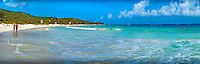 Culebra, Flamenco Beach, Couple Strolling, White, Sand, Beach, Aua, Ocean, Water, Panorama , island-municipality of Puerto Rico, Caribbean, Island, Greater Antilles, Commonwealth USA