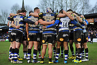 The Bath Rugby team huddle together at half-time. Aviva Premiership match, between Bath Rugby and Wasps on February 20, 2016 at the Recreation Ground in Bath, England. Photo by: Patrick Khachfe / Onside Images