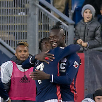 Foxborough, Massachusetts - October 23, 2016: In a Major League Soccer (MLS) match, New England Revolution (blue/white) defeated Montreal Impact (white), 3-0, at Gillette Stadium.<br /> Goal celebration.