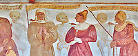 The Church of San Vigilio in Pinzolo and its fresco paintings &ldquo;Dance of Death&rdquo; ( Danza macabra)  painted by Simone Baschenis of Averaria in1539, Pinzolo, Trentino, Italy.<br /> <br /> Noble Women pierced with an arrow from the skeletons that are either side of him and represent dead.