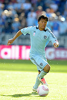 Sporting KC midfielder Roger Espinoza (15) in action...Sporting Kansas City defeated New York Red Bulls 2-0 at LIVESTRONG Sporting Park, Kansas City, Kansas.