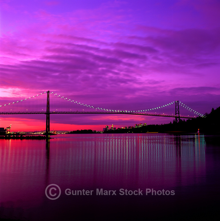 "The ""Lions Gate"" Bridge and the City of Vancouver Skyline at Burrard Inlet, British Columbia, Canada, at Sunrise"