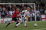 Fulham's Irish winger Damien Duff (right) in action during the second half against Northern Irish club Crusaders in a UEFA Europa League 2nd qualifying round, fist leg match at Seaview, Belfast. The visitors from England won by 3 goals to 1 before a crowd of 3011.