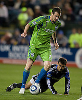 Nate Jaqua of Sounders in action during the game against the Earthquakes at Buck Shaw Stadium in Santa Clara, California on April 2nd, 2011.   San Jose Earthquakes and Seattle Sounders are tied 2-2.