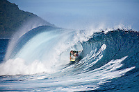 JAY THOMPSON (AUS) surfing at a reef pass near Teahupoo, Tahiti, (Friday May 15 2009.) Photo: joliphotos.com