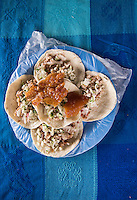 Pork tacos at Don Gonzalo Villaverde who specializes in roast pork and baking bread, Acatepahua, Chiapas, Mexico