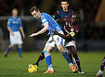 St Johnstone v Hearts..19.12.15  SPFL  McDiarmid Park, Perth<br /> Steven MacLean and Prince Buaben<br /> Picture by Graeme Hart.<br /> Copyright Perthshire Picture Agency<br /> Tel: 01738 623350  Mobile: 07990 594431