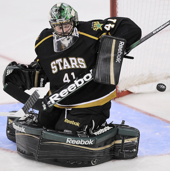 Texas Stars goaltender Cristopher Nilstorp makes a save during the second period of an AHL hockey game against the San Antonio Rampage, Saturday, Oct. 13, 2012, in San Antonio. Texas won 2-1. (Darren Abate/pressphotointl.com)