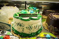 St. Patrick's Day themed baked goods on sale at a supermarket in New York on Saturday, March 14, 2015. The holiday falls o Tuesday, March 17. (© Richard B. Levine)