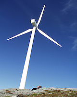 Wind turbines used in wind farms for commercial production of electric power are usually three-bladed and pointed into the wind by computer-controlled motors. Wind energy production in Norway. Some of the first turbines were built on the mountian Hundhammerfjellet in Mid-Norway.
