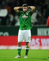 FUSSBALL   1. BUNDESLIGA    SAISON 2012/2013    14. Spieltag   SV Werder Bremen - Bayer 04 Leverkusen                28.11.2012 Sokratis Papastathopoulos (SV Werder Bremen) ist nach dem Abpfiff enttaeuscht