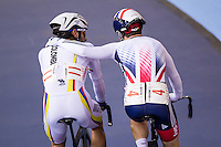 Picture by Alex Whitehead/SWpix.com - 06/03/2016 - Cycling - 2016 UCI Track Cycling World Championships, Day 5 - Lee Valley VeloPark, London, England - Great Britain's Mark Cavendish with Colombia's Fernando Gaviria, Men's Madison final.