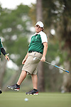 HOWEY IN THE HILLS, FL - MAY 19: Gavin Dugas of Husson reacts to a missed putt during the Division III Men's Golf Championship held at the Mission Inn Resort and Club on May 19, 2017 in Howey In The Hills, Florida. (Photo by Cy Cyr/NCAA Photos via Getty Images)