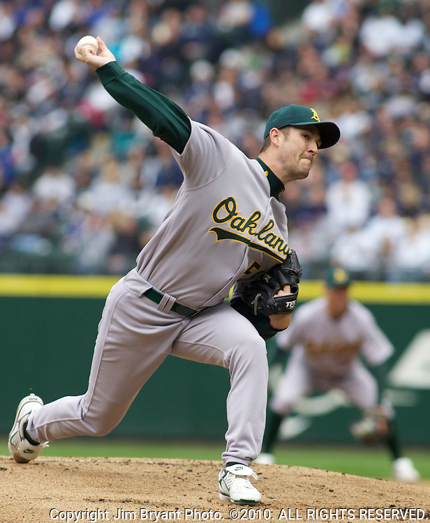 Oakland Athletics starter Justin Duchscherer pitches against Seattle Marinersi n the second inning of the opening home game at SAFECO Field in Seattle April 12, 2010. The Athletics beat the Mariners 4-0.  Jim Bryant Photo. ©2010. ALL RIGHTS RESERVED.