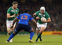 Rory Best of Ireland in possession. Rugby World Cup Pool D match between France and Ireland on October 11, 2015 at the Millennium Stadium in Cardiff, Wales. Photo by: Patrick Khachfe / Onside Images