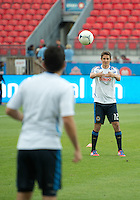 15 September 2012: Philadelphia Union forward Chandler Hoffman #12 warms up with Philadelphia Union midfielder Roger Torres #8 during an MLS game between the Philadelphia Union and Toronto FC at BMO Field in Toronto, Ontario..The game ended in a 1-1 draw..