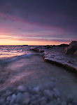 Georgian Bay rocky shore sunset nature landscape scenery. Bruce Peninsula National Park, Ontario, Canada.