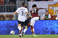ROME, Italy - September 29, 2013: Roma beats Bologna 5-0 during the Serie A match in Olimpico Stadium. In the photo Kouassi Gervinho scoring the goal of 2-0
