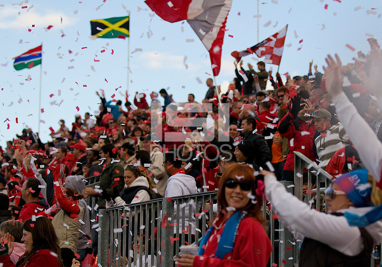 10 October 2009: The Toronto fans celebrate a goal by Toronto FC defender Nana Attakora-Gyan #3 during MLS action between Toronto FC and San Jose Earthquakes at BMO Field in Toronto..The final score was 1-1..