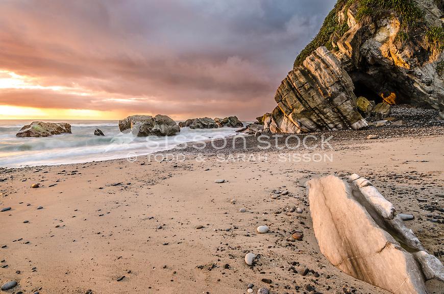Sunset, Gentle Annie Beach, West Coast, South Island, New Zealand - stock photo, canvas, fine art print
