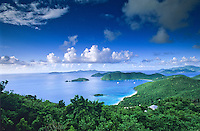 View of St John's North Shore<br /> showing Cinnamon Bay, Mary's Point<br /> Whistling Cay and the BVI