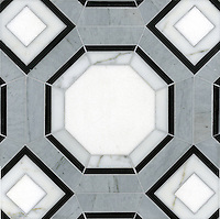 Gregory, a stone water jet mosaic, shown in Thassos, Calacatta Tia, Bardiglio, and Nero Marquina, is part of the Ann Sacks Beau Monde collection sold exclusively at www.annsacks.com