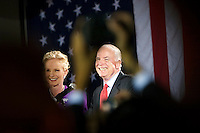 John McCain and his wife Cindy on stage at the Citadel as supporters celebrate his South Carolina Republican Primary win, Charleston, South Carolina, January 19, 2008.