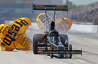 Apr. 28, 2013; Baytown, TX, USA: NHRA top fuel dragster driver Troy Buff during the Spring Nationals at Royal Purple Raceway. Mandatory Credit: Mark J. Rebilas-