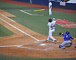 Ole Miss' Sikes Orvis loses his bat vs. TCU at Oxford-University Stadium in Oxford, Miss. on Friday, February 15, 2013. Ole Miss won the season opener 1-0.