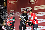 Michal Kwiatkowski (POL) Team Sky wins with Greg Van Avermaet (BEL) BMC Racing Team finishing in 2nd place and Tim Wellens (BEL) Lotto-Soudal in 3rd on the podium at the end of the 2017 Strade Bianche running 175km from Siena to Siena, Tuscany, Italy 4th March 2017.<br /> Picture: Eoin Clarke | Newsfile<br /> <br /> <br /> All photos usage must carry mandatory copyright credit (&copy; Newsfile | Eoin Clarke)