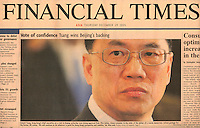 Front Page of Financial Times (USA) on December 29, 2005. Photo by Lucas Schifres/Bloomberg