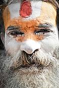 An Hindu sadhu seen outside the Pashupathi Nath Temple in capital Kathmandu, Nepal