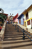 Steep street in the Las Penas restored historic district on Cerro Santa Ana in Guayaquil, Ecuador