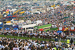 The Vodaphone Derby Day Horse Racing. Epsom Downs, Surrey, England 2007. Derby Day is considered to be the largest horse race event in the world, over 100,000 people attend.