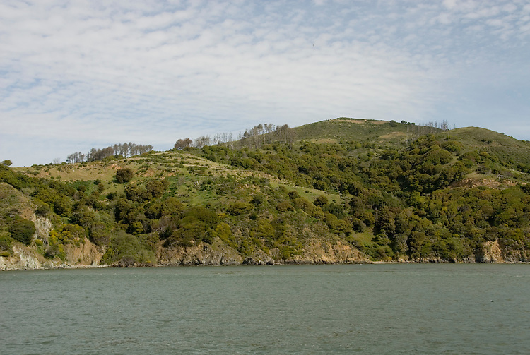 Angel Island State Park, in San Francisco Bay, CA, California.  People disembark and picnic at Ayala Cove, then hike, bike, or tram perimeter road, with stops at Civil War era Camp Reynolds, and its restored officer house, or Spanish American War era Fort McDowell..Photo camari253-70338..Photo copyright Lee Foster, www.fostertravel.com, 510-549-2202, lee@fostertravel.com.