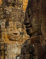 The many faces of the Bayon Temple, Khmer ancient ruins near Angkor Wat, Siem Reap, Cambodia